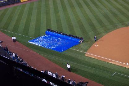 The tarp comes off